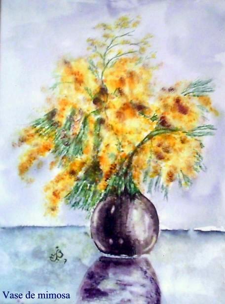 Vase mimosa