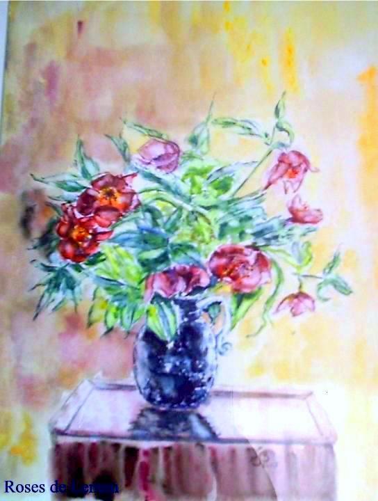 Vase roses